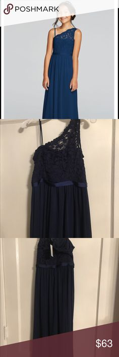 New One shoulder long laced bodice dress Dark blue(marine) junior bridesmaid dress from Davids Bridal. She outgrew it before the wedding and I could not take it back. The tags are still on it. The dress runs small. The first photo is from David's Bridal to show better view of dress. David's Bridal Dresses Formal