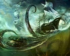 Creature of the Month: Cthulhu and the Kraken by Oberon Zell and Tom Williams Sea Monsters, Fantasy, Fantasy Art, Kraken, Monster, Mythical Creatures, Art, Pirates Of The Caribbean, Digital Painting