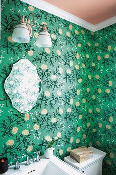floral-motif wallpaper