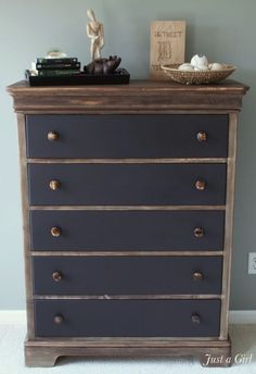 "Industrial Rustic Dresser. Great tutorial on how to create a ""Restoration Hardware"" stain on the wood."