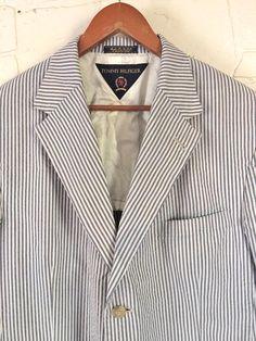 Vintage Tommy Hilfiger Seersucker Sport Coat 48 Blue White 90s Jacket Blazer Summer Cotton