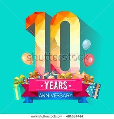 10 Years Anniversary celebration logo, 10th Anniversary celebration, with gift box and balloons, colorful polygonal design. - stock vector