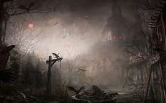 artwork, birds, dark, death, fear, ghost