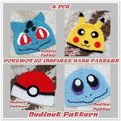 CROCHET PATTERN Pokemon Inspired Pikachu and Pokeball, Squirtle, Bulbasaur inspired crochet hat, Pdf Pattern, baby to adult hat from NedinetPattern on Etsy Studio Pokemon Hat, Crochet Pokemon, Pokemon Gifts, Pikachu Pokeball, Minnie Mouse Costume, Pattern Weights, Crochet Beanie, Crochet Fall, Beanies