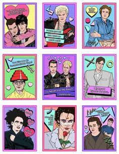 New Wave Valentine's Day Card Pack. Bands included on cards: The Smiths, Billy Idol, Duran Duran, Devo, Depeche Mode, Talking Heads, The Cure, Adam Ant, and Tears for Fears - Matthew Lineham
