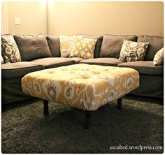 DIY Tufted Ikat Ottoman from Upcycled Pallet with Tutorial..i love pallets...everything i see made out of them i wanna do lol