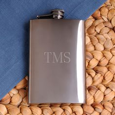 Personalized Gunmetal Flask (JDS Engravables GC972) | Buy at Wedding Favors Unlimited (http://www.weddingfavorsunlimited.com/personalized_gunmetal_flask.html).