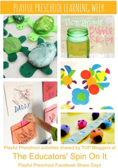 Preschool Activities: painted turtles, homemade bubbles, ladybug math, symmetry stickers and more!