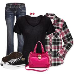 """pink and plaid in the fall"" by cnh92 on Polyvore"