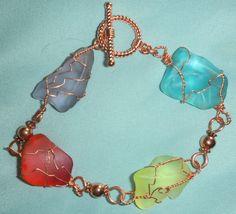 Sea Glass with Copper wire wrap