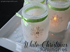 Super easy, pretty (and cheap!) mason jar luminaries for Christmas. I used stencils, glass paint, Mod Podge & salt to make these in under an hour. :) [media_id:…