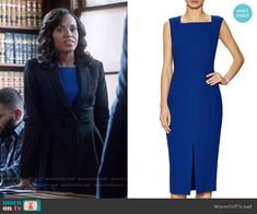 Jason Wu Crepe Sleeveless Sheath Dress worn by Kerry Washington on Scandal Winter Professional Outfits, Business Fashion Professional, Casual Professional, Scandal Fashion, Fashion Tv, Fashion Outfits, Casual Outfits, Black Peplum, Peplum Jacket