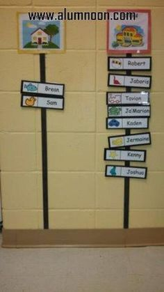 Attendance Chart that I would modify for Kindergarten with student picture instead of clip art, and each student writing their own names instead of being printed. Preschool Classroom Setup, Preschool Rooms, Toddler Classroom, New Classroom, Classroom Setting, Classroom Activities, Classroom Organization, Preschool Sign In Ideas, Preschool Attendance Chart