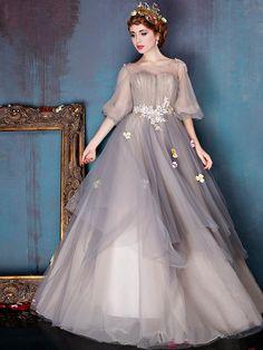 Beautiful Prom Dress Scoop Floor-length 3/4-Length Appliques Prom Dress # VB1019