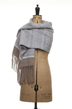 Handmade knitted Fair Isle wrap scarf in soft muted tones of blue and neutrals by Suzie Lee Knitwear Knitted Shawls, Knitted Bags, Knitted Blankets, Fair Isle Knitting, Easy Knitting, Knitting Ideas, Blanket Shawl, Wool Blanket, Knitted Heart