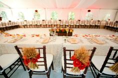 Fall tones and elegance in this wedding reception... Little Flower Shop