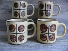 Six Vtg Stoneware Pottery Mugs Swirl Geometric Design Korea Dishwasher Safe $39.99