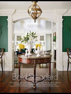 Interior Designer Corey Damen Jenkins has used Theodore Alexander furniture with panache in the May edition of Traditional Home. Traditional Interior, Traditional House, Commercial Interior Design, Home Interior Design, Foyer Staircase, Staircases, Accent Wall Decor, Fantasy Rooms, Theodore Alexander
