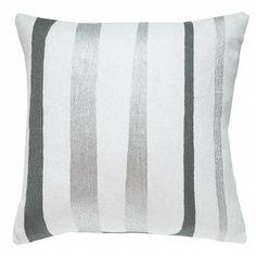 Judy Ross Textiles Hand-Embroidered Chain Stitch Stripe Throw Pillow cream/dark grey/fog rayon