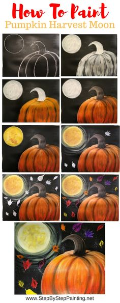 How To Paint A Pumpkin Harvest Moon - Step By Step Painting how to paint a pumpkin on canvas, how to paint a harvest moon pumpkin, step by step acrylic painting for beginners, full tutorial with picture instructions Halloween Canvas Paintings, Fall Canvas Painting, Moon Painting, Halloween Painting, Autumn Painting, Autumn Art, Halloween Fun, Acrylic Canvas, Fall Paintings