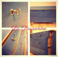 Mid Century Dresser - Refinished with CeCe Caldwell Chalk & Clay Paints in custom mix color using Maine Harbor Blue.https://www.facebook.com/Laparisiennevintagechic