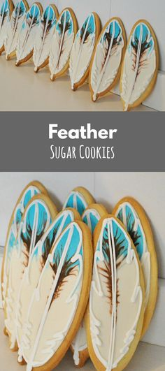 Feather Hand Decorated Sugar Cookies - 1 dozen #affiliate