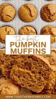 Fall Desserts, Delicious Desserts, Dessert Recipes, Yummy Food, Best Pumpkin Muffins, Pumpkin Bread, Pumpkin Recipes, Fall Recipes, Pumpkin Dessert