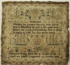 Early 19th Century Silk Work Sampler by Margaret Irving Aged 10 1808 | eBay