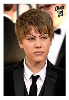 """Justin Bieber, with clown-ish/couture make up inspired by Rihanna's """"Rated R"""" album. """"Crazy white bitxh"""""""