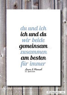 Druck/Wandbild: Du und Ich - Hochzeit/Verlobung von Die Persönliche Note auf DaWanda.com