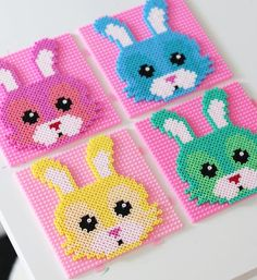 Hama rabbits for Easter Perler Bead Templates, Diy Perler Beads, Pearler Beads, Fuse Beads, Owl Patterns, Alpha Patterns, Beading Patterns, Pearler Bead Patterns, Perler Patterns