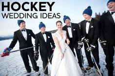 Hockey-inspired wedding details via POPSUGAR