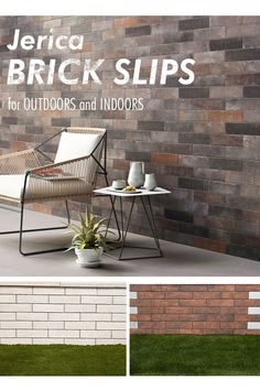Jerica Brick Slip can be the finishing touch for your project. These stunning porcelain brick-effect tiles can create a wondrous feature wall to round off your garden patio with panache. The range comprises of seven different shades, from an earthy brown to a sleek light grey. - Super strong porcelain brickslip - Perfect for flower bed surrounds or feature garden walls Brick Effect Tiles, Outdoor Tiles, Outdoor Decor, Garden Walls, Kitchen Tiles, Flower Beds, Earthy, Outdoor Furniture Sets, Porcelain