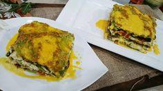 Lasagna verde de vegetales con salsa de vino