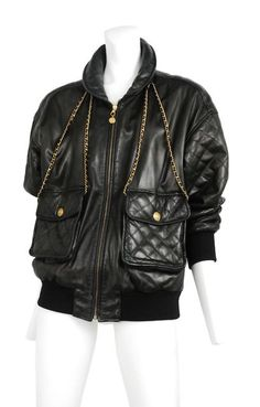 """CHANEL Leather Quilted """"Purse"""" Jacket"""