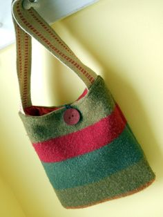 Stripes and Red Regular or Crossbody Tote Purse: Made from a felted, recycled wool sweater.