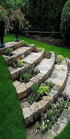 Garden Steps, Diy Garden, Garden Cottage, Garden Paths, Brick Garden, Garden Club, Garden Bed, Garden Flags, Garden Hose