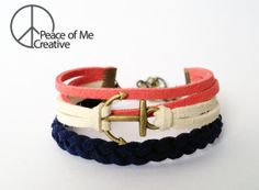 Layered Navy Blue and Salmon Anchor Bracelet