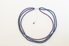 Amethyst and Lapis Bead Necklace with 4 inch sterling silver extender with bead.