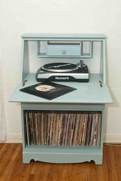 Old record player in console. Refurbished with chalk paint and ...