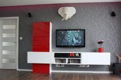 obývačka Route (Elis) Biela arctic vysoký lesk a červená vysoký lesk, Flat Screen, Flat Screen Display