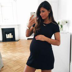 Mimi Ikonn Pregnant, Mimi Ikonn Maternity Style, Mimi Ikonn Pregnancy Style, 38 Weeks, Black Dress, London.