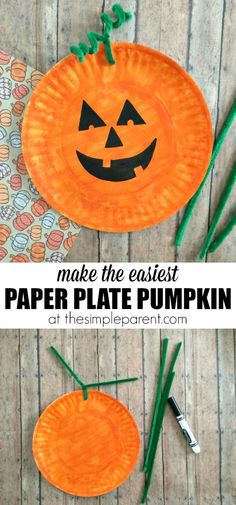 Learn how to make the easiest Paper Plate Pumpkin Craft ever! You probably have most of the supplies for this paper plate craft idea! It's a fun way to celebrate fall or Halloween with the kids! by callie