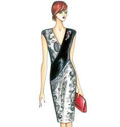 F3663, Marfy Dress Illustration Mode, Fashion Illustration Sketches, Fashion Design Sketches, Vogue Sewing Patterns, Marfy Patterns, Dress Paterns, Fashion Art, Girl Fashion, Moda Retro