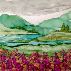 Flowers in the valley Alcohol ink on tile by Lin Crocco Blumen im Tal Alkohol Tinte auf Fliese Alcohol Ink Tiles, Alcohol Ink Crafts, Alcohol Ink Painting, Pour Painting, Silk Painting, Painting & Drawing, Watercolor Paintings, Art Journal Techniques, Landscape Quilts