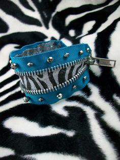 Zebra Zipper Cuff Bracelet