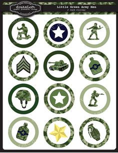 Little Green Army Men 2 Inch Round Circles for stickers