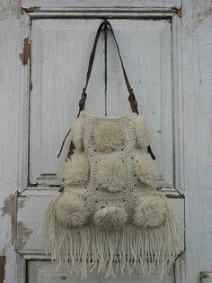 Borsa a mano all'uncinetto usando 100% lana e di GeorgiasWorld