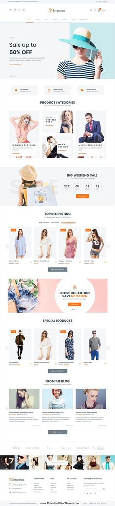 Emporos is clean, stylish and modern design responsive WooCommerce WordPress #template for stunning fashion store #eCommerce #website with 3+ niche homepage layouts to live preview & download click on Visit