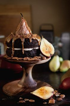 Spiced Chocolate Caramel Pear Cake | Chasing Delicious